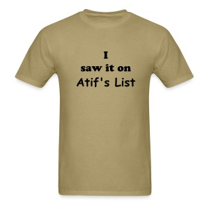 Atif's List Khaki Tee - Men's T-Shirt