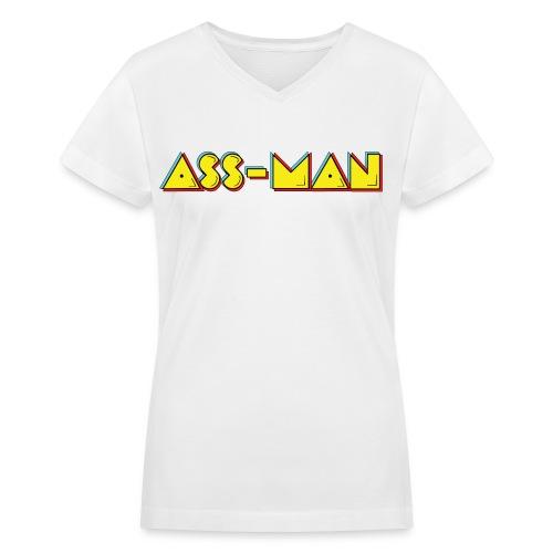 Ass-Man (Women) - Women's V-Neck T-Shirt