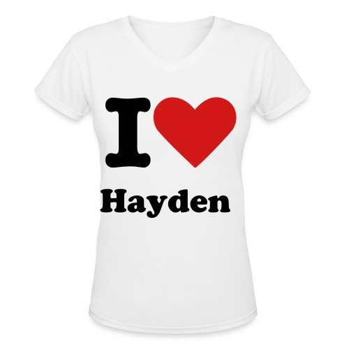 I Heart Hayden [Female] - Women's V-Neck T-Shirt