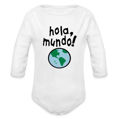 BODY MANGA LARGA HOLA MUNDO - Organic Long Sleeve Baby Bodysuit
