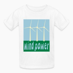 White Wind Power With Wind Turbines Kids Shirts