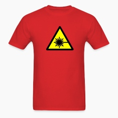 Red Caution, laser beam T-Shirts (Short sleeve)