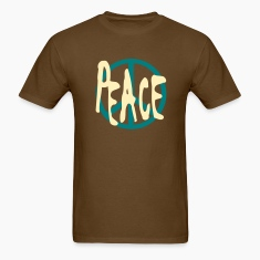 Brown Peace With Peace Symbol T-Shirts (Short sleeve)