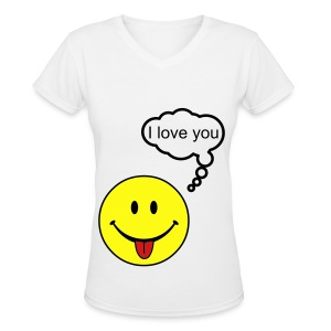 SMILEY LOVE - Women's V-Neck T-Shirt