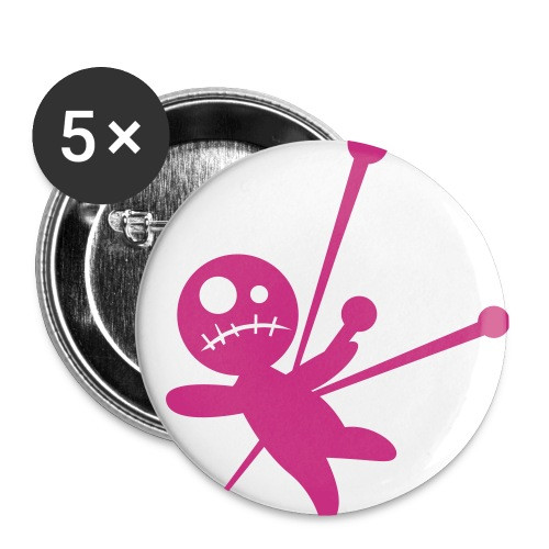 Pink and White Voo Doo Doll Pin Set - Small Buttons
