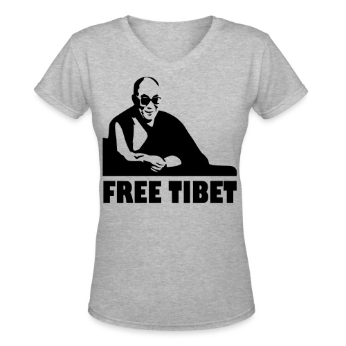 FREE TIBET  BLACK - Women's V-Neck T-Shirt