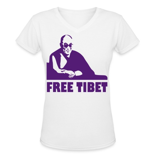 FREE TIBET - Women's V-Neck T-Shirt