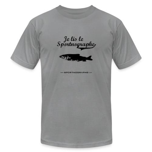 Je lis le Sportnographe - gris - Men's Fine Jersey T-Shirt