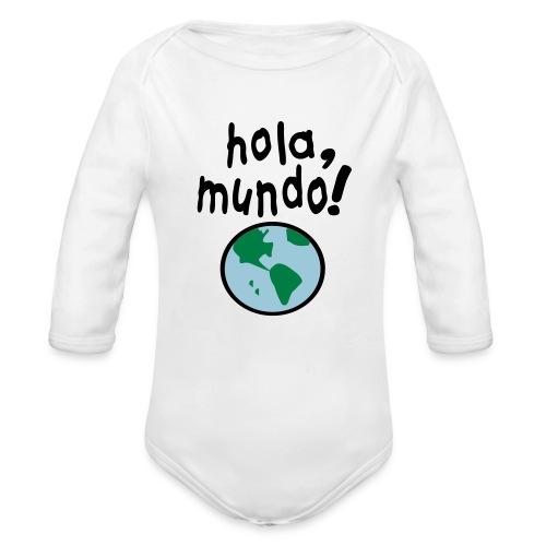 Kool Kids Tees 'Hola, Mundo' Long Sleeve One size in White - Organic Long Sleeve Baby Bodysuit