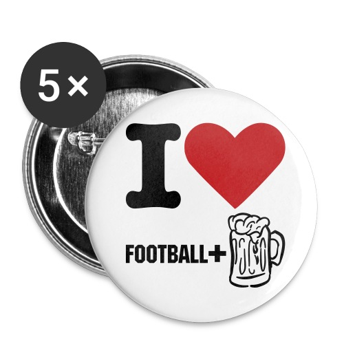 I love Football & Beer pin (5 pack) - Large Buttons