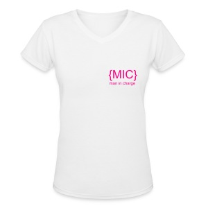 Mini MIC V  - Women's V-Neck T-Shirt