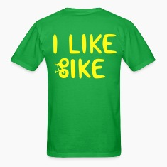 Bright green I Like Bike T-Shirts DESIGN ON BACK