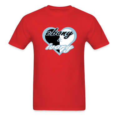 Red Ebony & Ivory With Red Heart T-Shirts (Short sleeve)