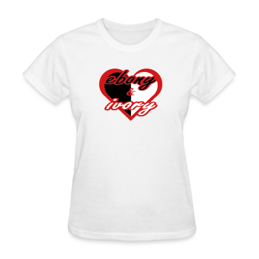 White Ebony & Ivory With Red Heart Women's Tees (Short sleeve)