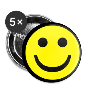 Smiley Face Button Pack Of 5 - Small Buttons