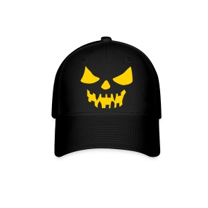 Orange Scary Face Black Fitted Hat Great For Halloween - Baseball Cap