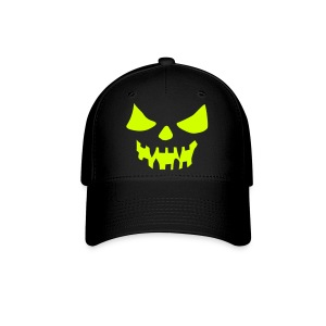 Scary Face Neon Yellow Fitted Hat Great For Halloween - Baseball Cap