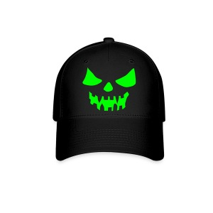 Scary Face Neon Green Black Fitted Hat Great For Halloween - Baseball Cap