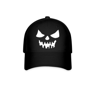 White Scary Face Black Fitted Hat Great For Halloween - Baseball Cap