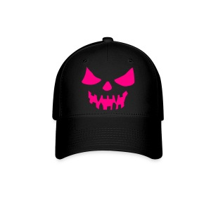 Scary Face Neon Pink Fitted Hat Great For Halloween - Baseball Cap