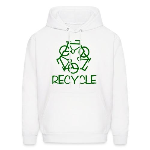Recycle White Hooded Sweatshirt - Men's Hoodie