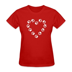 Red Paw Print Heart pawprint dog, cat, Women's Tees (Short sleeve) - Women's T-Shirt