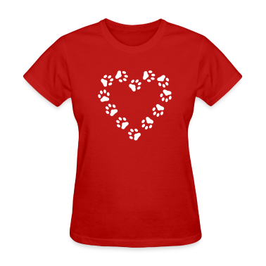 Red Paw Print Heart pawprint dog, cat, Women's Tees (Short sleeve)