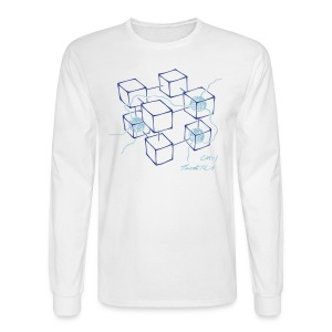 CM-1 men's long white blue/blue - Men's Long Sleeve T-Shirt