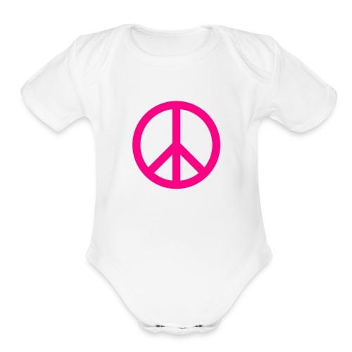peace one size - Organic Short Sleeve Baby Bodysuit