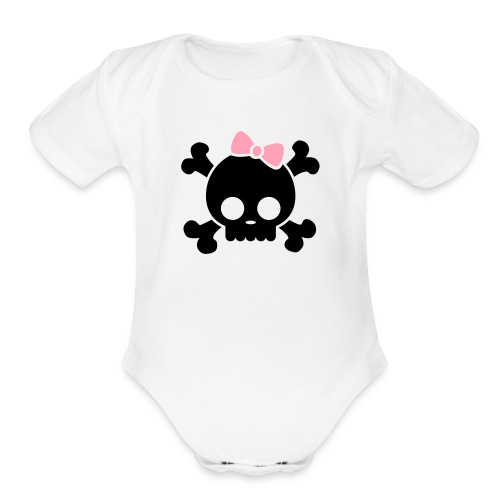 skull & bow one size - Organic Short Sleeve Baby Bodysuit