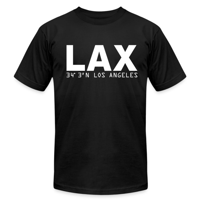 Los Angeles airport code LAX solid white letters Fitted T-Shirt