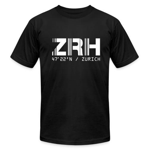 Zurich Airport Code ZRH Switzerland Fitted T-shirt - Men's T-Shirt by American Apparel
