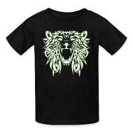 Kids' Shirts ~ Kids' T-Shirt ~  TRIBAL LION - GLOW IN THE DARK Child Size T-Shirt