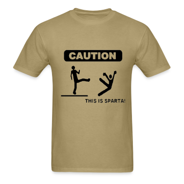 Khaki Caution: This is Sparta! T-Shirts (Short sleeve)