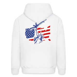 Combat Statue Flag W/ Statue Of Liberty Back Hoody - Men's Hoodie