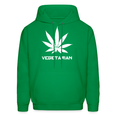 Green cannabis dope vegetarian Hoodies
