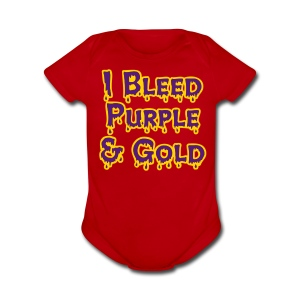 I Bleed Purple and Gold LSU - Short Sleeve Baby Bodysuit