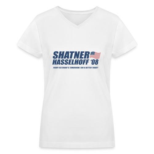 Shatner Hasselhoff '08 LWomen's V-Neck T - Women's V-Neck T-Shirt
