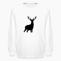 White Deer with antlers Kids Shirts