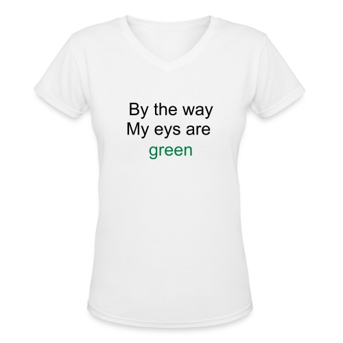 eye color green - Women's V-Neck T-Shirt