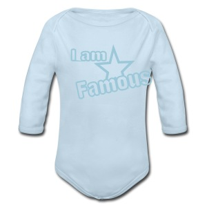 I Am Famous Blue Toddler Long Sleeved One size - Long Sleeve Baby Bodysuit