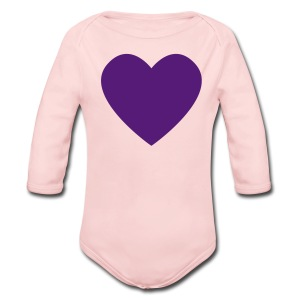 Purple Heart Love Pink Toddler Long Sleeved One size - Long Sleeve Baby Bodysuit