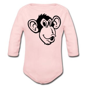 Monkey Face Long Sleeved One size - Long Sleeve Baby Bodysuit