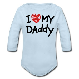 I Love My Daddy Blue Long Sleeved One size - Long Sleeve Baby Bodysuit
