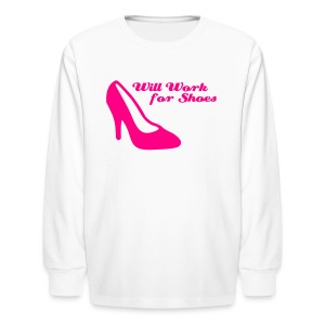 Will Work For Shoes Kids Long Sleeved Tee - Kids' Long Sleeve T-Shirt