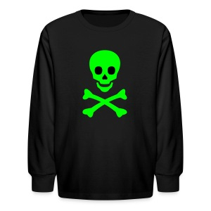 Skull Face With Crossbones Kids Long Sleeved Tee - Kids' Long Sleeve T-Shirt