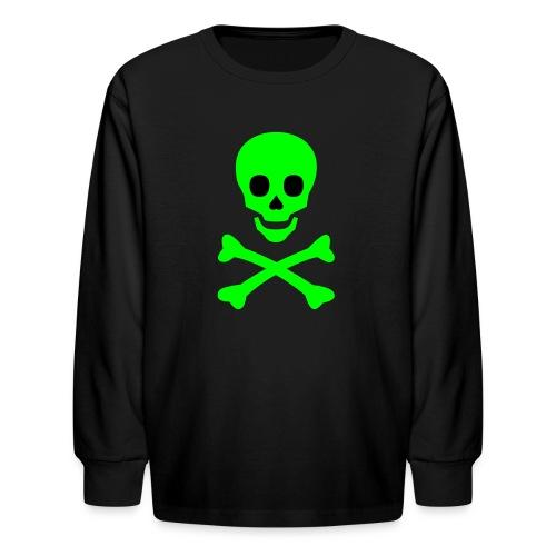 Skull Face With Crossbones Kids Long Sleeved Tee - Kids' Long Sleeve T-Shirt