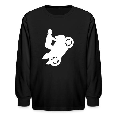 Motorcycle Wheelie On Kids Long Sleeved Tee - Kids' Long Sleeve T-Shirt