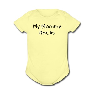 My Mommy RocksPink Short Sleeved One size - Short Sleeve Baby Bodysuit