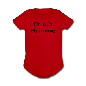 Elmo is my Homie Red Short Sleeved One size - Short Sleeve Baby Bodysuit